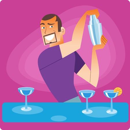 bartender: Barman �l�gant pr�pare un cocktail