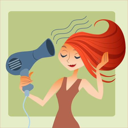 woman dries hair Vectores