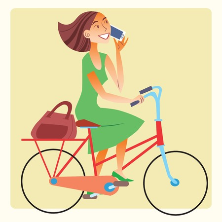woman smartphone: Young woman riding a bike and talking on the smartphone