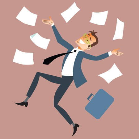 bank manager: Businessman throws paper Illustration