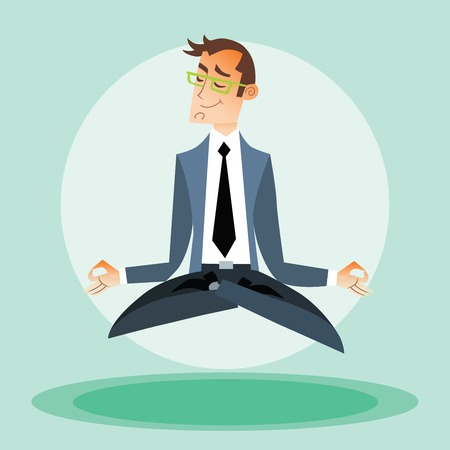 the programmer: Businessman engaged in yoga Illustration