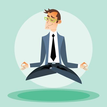 glass break: Businessman engaged in yoga Illustration