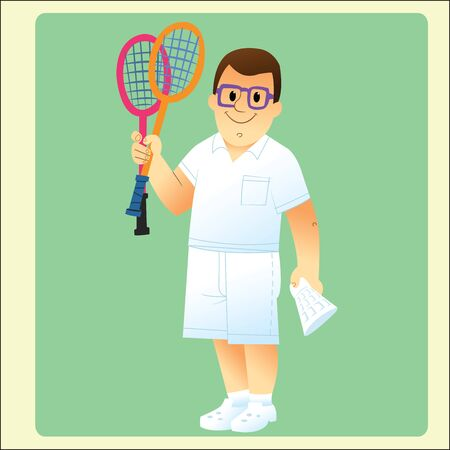 bespectacled man: complete man is exercising plays badminton Illustration
