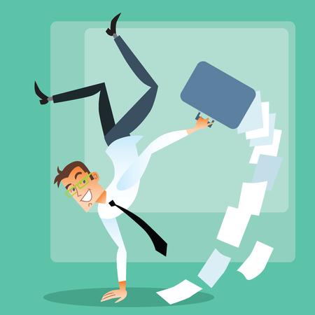 commissions: Joyful businessman doing handstand
