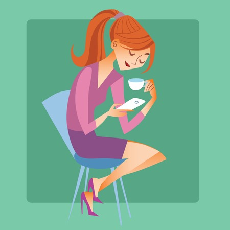 young woman sitting: Young woman sitting with a Cup of coffee or tea and read the mes