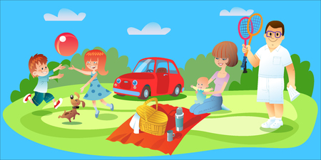 family picnic: Family picnic. Dad plays badminton, Mamas got food and watching an infant brother and sister playing ball with the dog on the lawn of the car is worth