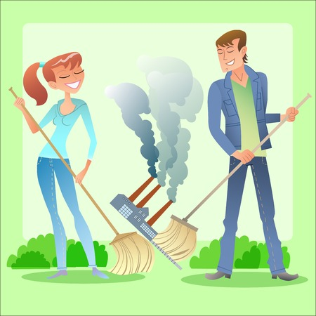 Environmental activists boy and girl clean green planet of garbage and air pollution