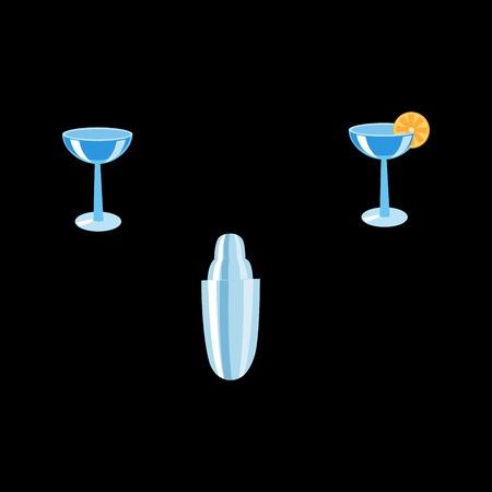 bartender: Le barman mis le shaker et les verres cocktail avec du citron