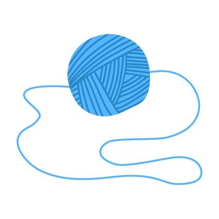 Tangle blue coat thread on white background