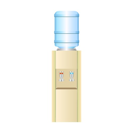 Office water cooler with hot and cold drinking water on a neutral background