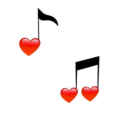 hi fi: The symbol of music and love. Signs of notes in the form of hearts