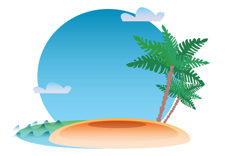 Tropical resort background with the sea, the island and the palm. Travel and leisure Illustration