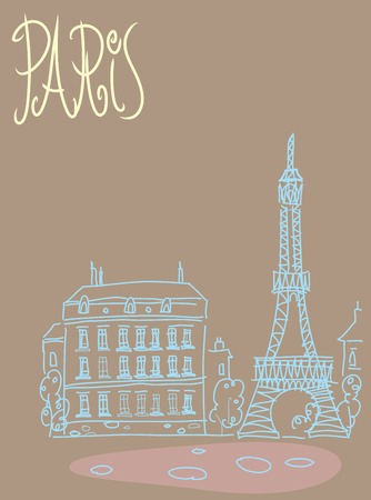 antiquities: Travel the background of the poster or postcard template Paris with Eiffel tower view