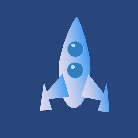 spaceport: Space cartoon rocket icon on a neutral background
