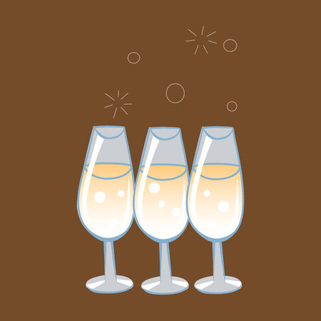 date night: Celebratory glasses of champagne with bursting bubbles on a neutral background Illustration