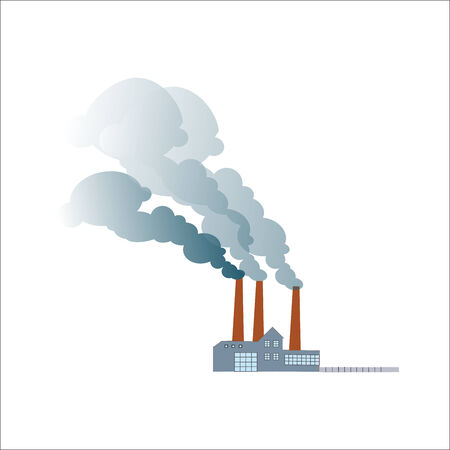 pollution: Smoking dirty polluting plant or factory on a neutral background