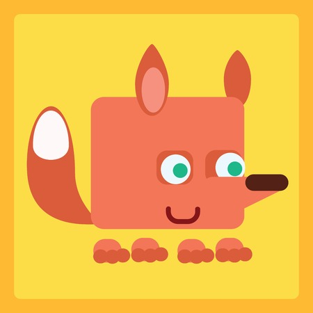 Good Fox stylized children icon symbol illustration