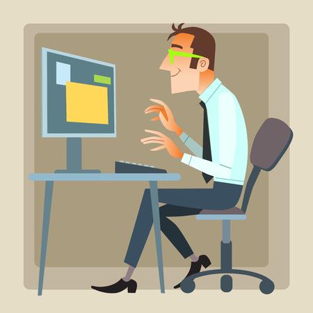 男のオフィス作業コンピューター