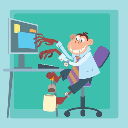 screenwriter: Office monkey working at the computer and making tea Illustration