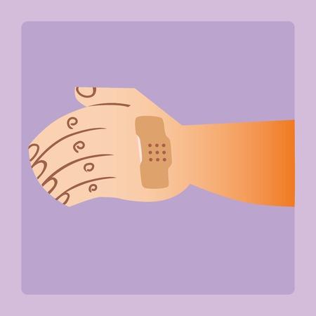 ulceras: la herida en su brazo parche pegado