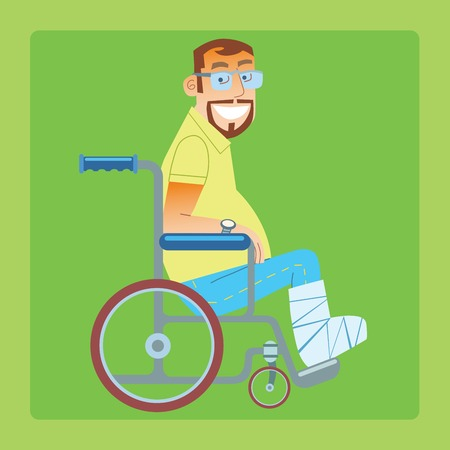A broken leg. A trauma patient in a wheelchair with a bandaged leg Illustration
