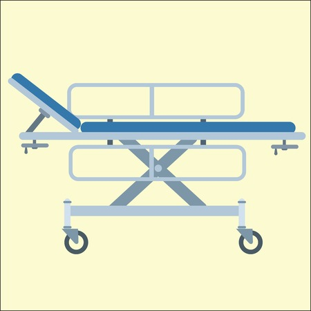 paralysis: Medical stretcher bed on wheels transportation in the hospital Illustration