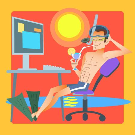 freelancer: Freelancer works resort computer Illustration