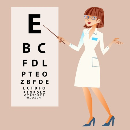 doctor woman: The doctor ophthalmologist examines your eyes Illustration