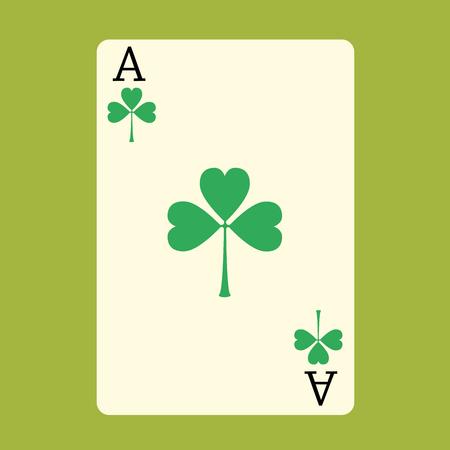 jeu de carte: Jouer la carte ACE avec un vert jour Shamrock Patrick Illustration