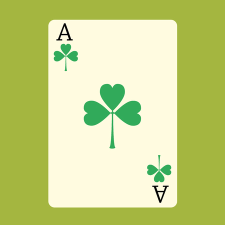 happiness ace: Playing card ACE with a green Shamrock Patrick day
