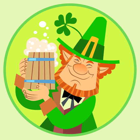 patric: Day Patrick green leprechaun with beer and Shamrock