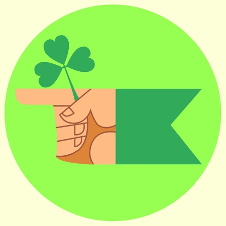 patric banner: cursor on the festival day of Patrick hand and Shamrock Illustration