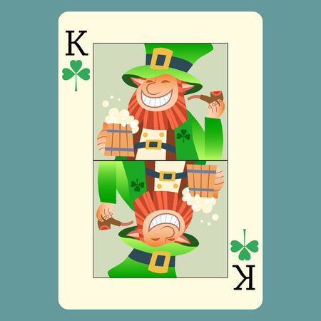playing card: Playing card king green leprechaun St. Patrick day