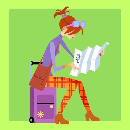 mujer con maleta: Turista que se sienta en la maleta y se ve el mapa