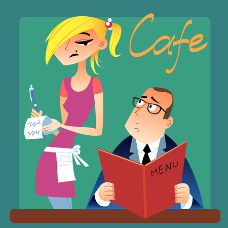 tired person: The waitress takes an order from a customer in the cafe, guest considers menu