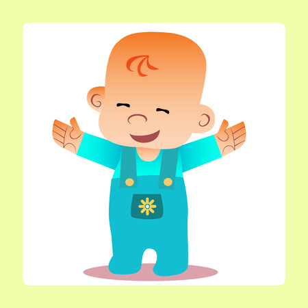 cuddle: Happy baby revealed handle wants to cuddle. Childhood and motherhood Illustration