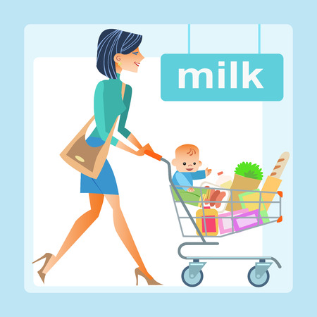 children health: mom with the shopping cart with a baby in the store. In the cart the products and the boy, the milk section