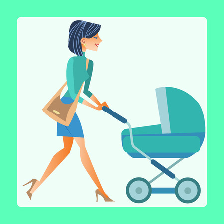 waggon: Young modern mother with a pram walking down the street