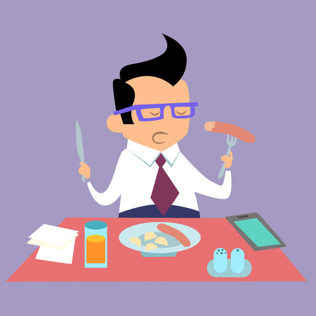 smartphone business: Business lunch office worker businessman eats fast food