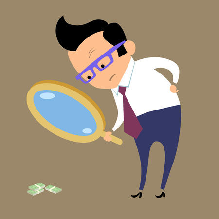office theft: Earnings Finance and business. Businessman looking for money in magnifying glass