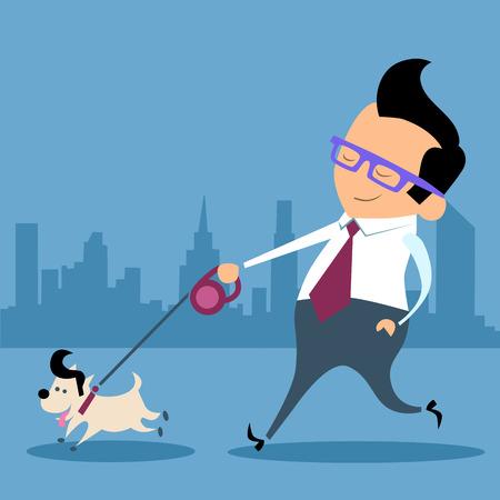 Businessman walking a dog pet office worker Illustration