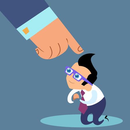 Die Anweisungen des Chefs. Geschäftsmann Slave gehorcht seinem Chef. Büroarbeit Vektorgrafik