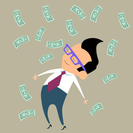 falling money: Office worker businessman happy standing in the midst of falling money