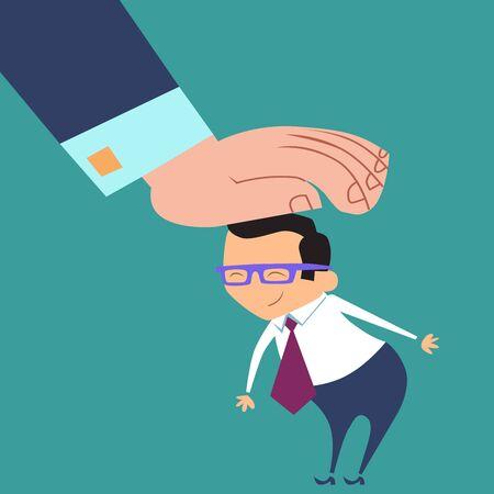 feeling good: A good businessman. Boss praises subordinate office worker