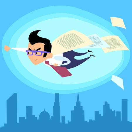 Businessman superhero, like Superman, flying over the city contract deal