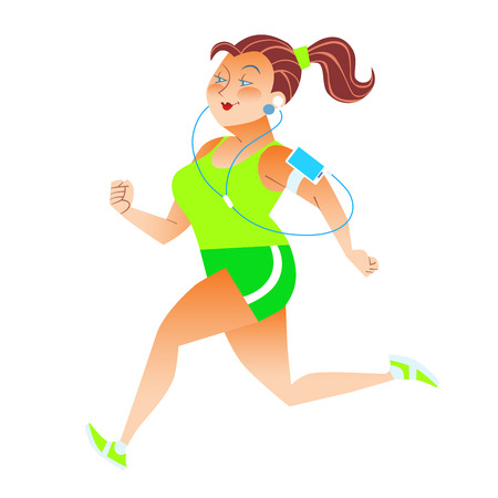 Sporty woman running herding weight kilocalories listens to music player health fitness Illustration