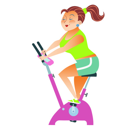 good evening: The girl with more weight training on a stationary bike