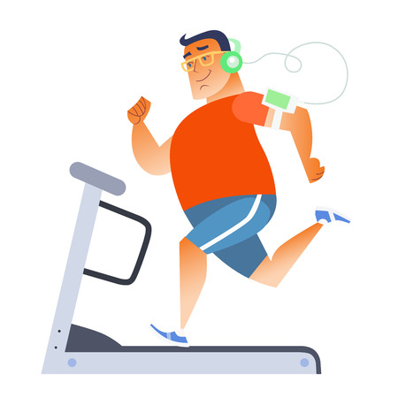 treadmill: Fat man on a stationary treadmill listening to music on the player