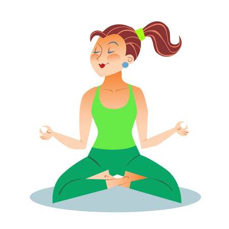sitting meditation: Yoga is a grown woman a girl sitting meditation in the Lotus position