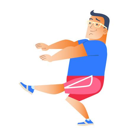 weight loss man: Fat man plays sports. Gymnastics health weight loss